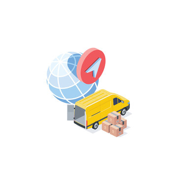 World delivery van cargo. Vector 3d isometric, color web icon, new flat style. Creative illustration design, idea for infographics.