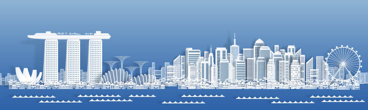 Paper cut Singapore. Travel banner with cityscape, famous tourist Singapore landmarks in paper style. Vector illustration white city buildings for posters and holiday cards for traveler