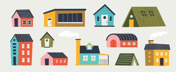 Trendy houses. Cartoon tiny buildings with hand drawn textures trees and weather elements with different roof. Vector illustration paper cut flat colored design for funny games interface