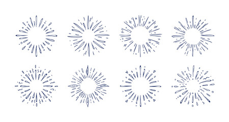 Doodle pop rays. Hand drawn starburst decorative elements, line sketch frame for greeting cards and posters. Vector black shining star fireworks set for pattern design decoration