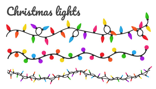 Christmas lights. Colorful decorative bulbs for decoration at a Christmas party.