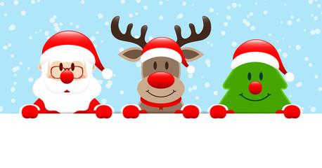 Wall Mural - Weihnachtsmann Rentier Und Baum Halten Horizontales Banner Schnee Blau
