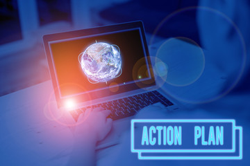Word writing text Action Plan. Business photo showcasing detailed plan outlining actions needed to reach goals or vision Picture photo system network scheme modern technology smart device and Elements