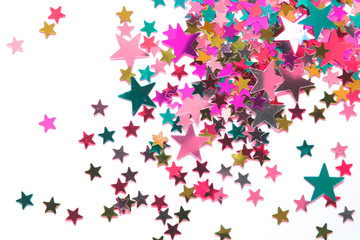 Glitter Tinsel Stars Close Up For Background