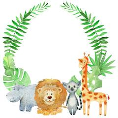 Obraz Watercolor safari card. - fototapety do salonu