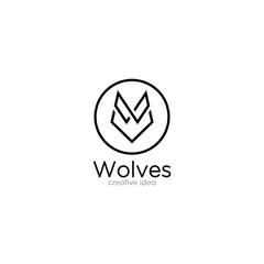 Creative Wolf Outline Logo Design Template