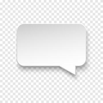 Vector blank paper speech bubble on background.