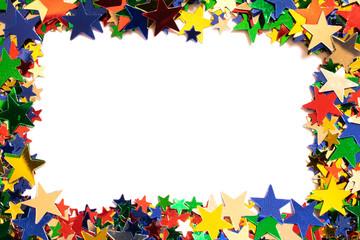 Glitter Tinsel Stars Close Frame Border Up For Background