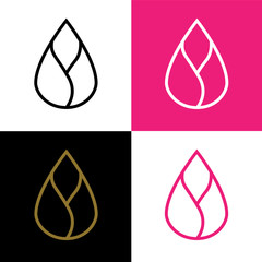 lotus icon. golden and pink lotus vector. eco simple icon