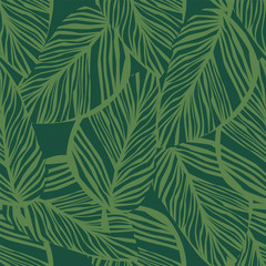 Foto op Plexiglas Tropische Bladeren Abstract exotic plant seamless pattern on green background. Green leaf wallpaper.