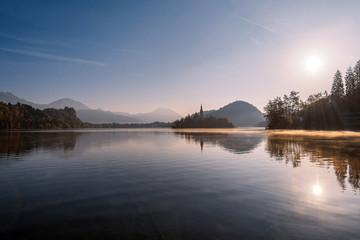 Stunning morning at lake bled, slovenia