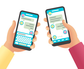 Hands holding phones with message. Social networking communication, touch screen smartphone app with online chat cartoon vector design