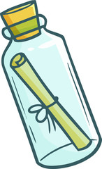 Cute and funny letter in a bottle in simple cartoon style
