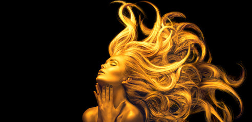 Poster Kapsalon Gold Woman. Beauty fashion model girl with Golden make up, Long hair on black background. Gold glowing skin and fluttering hair. Metallic, glance Fashion art portrait, Hairstyle. Fashion art design