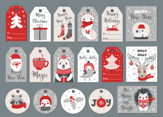 Set of merry christmas tags and cards with hand drawing elements. Vector