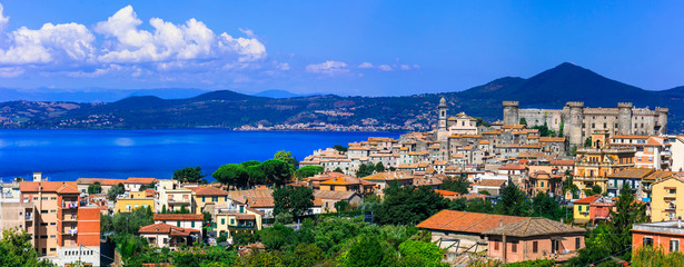 Most beautiful medieval villages (borgo) of Italy,  Panoramic view of lake and town  Lago di Bracciano Fototapete