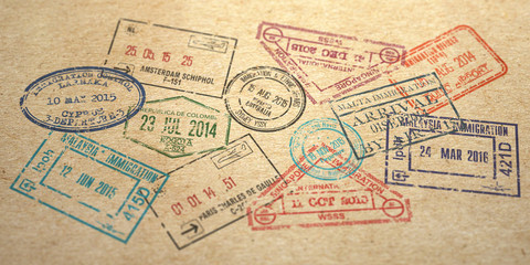 Background from different visa stamps on craft paper,