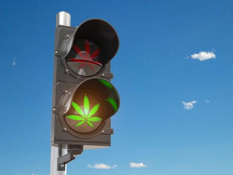 Cannabis and marijuana legalization concept.  Symbol of cannabis leaf on green traffic light.