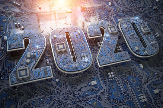 2020 on circuit board or motherboard with cpu. Computer technology and internet commucations digital concept background. Happy new 2020 year.