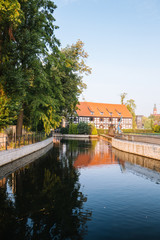 Bydgoszcz. Lock on the Brda River and historic architecture of the city's waterfront