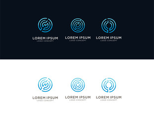 Set of Modern Abstract Circle Technology logo template,Technology logo simple tech design. Vector creative abstract circle round flow shape modern icon for construction technology.