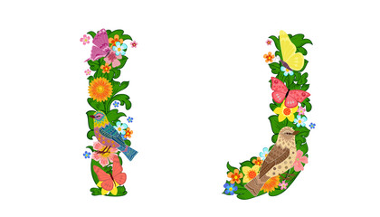 fancy collection of colorful letters I, J with butterflies and b