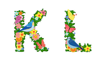 fancy collection of colorful letters K, L with butterflies and b