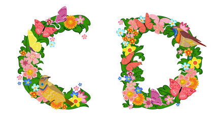 fancy collection of colorful letters C, D with butterflies and b