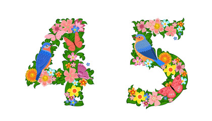 fancy collection of colorful numbers 4, 5 with butterflies and b
