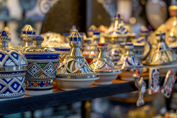 Papiers peints Moyen-Orient Hand-made tagine ceramics on display