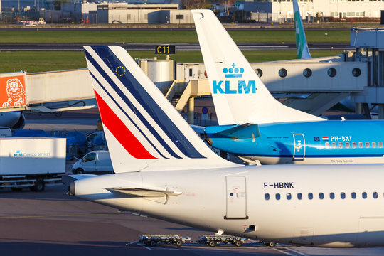 KLM Royal Dutch Airlines and Air France airplanes Amsterdam Schiphol airport