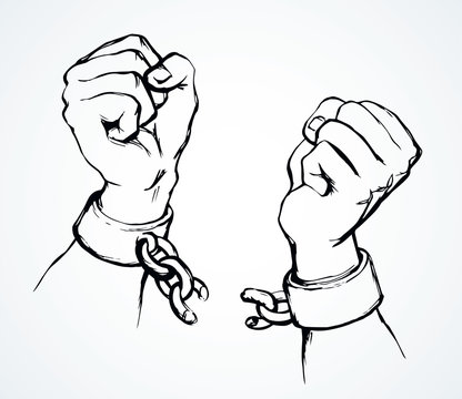 Hands tearing shackles. Vector drawing