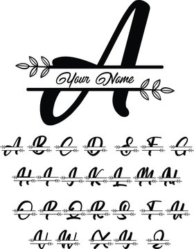 decoration letter monogram, sign monogram name, leaf monogram