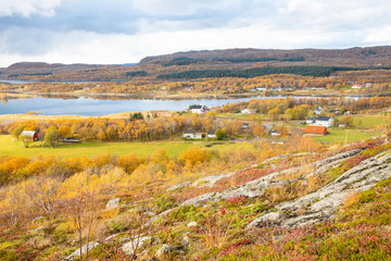 Autumn colors and views from Kverntiden in Brønnøy municipality, Nordland county