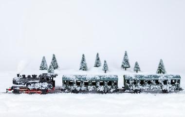 Modellbauzug in einer Schneelandschaft