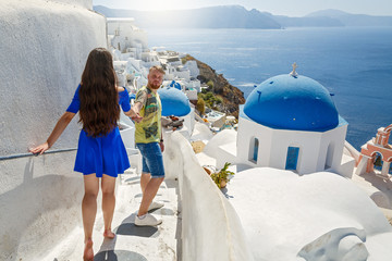 Young, beautiful couple in Greece