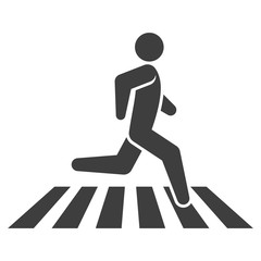 Icon man crosses the street at a special band. Vector on a white background