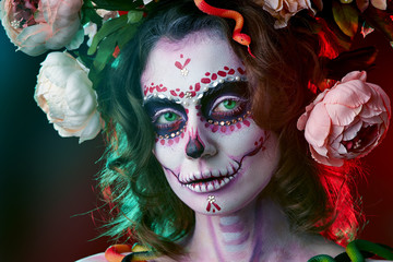 Halloween make up sugar skull beautiful model. Santa Muerte concept.