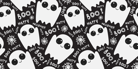 Seamless pattern with cute little cartoon ghosts on black background. Halloween boo funny symbols flying above the ground. Vector hand-drawn illustration.