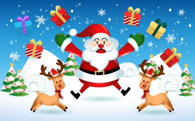 merry christmas.santa claus cute cartoon.for Christmas and Happy New Year background.vector illustration