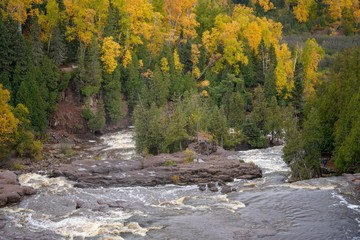 Panoramic view of Gooseberry Falls in Autumn