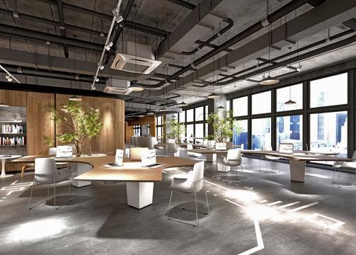 3d render of modern open office