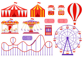 Amusement park, circus, carnival fair theme. Vector. Set with Ferris wheel, tent, carousel, roller coaster, air balloon. Icons isolated on white background. Attraction at daytime. Cartoon illustration