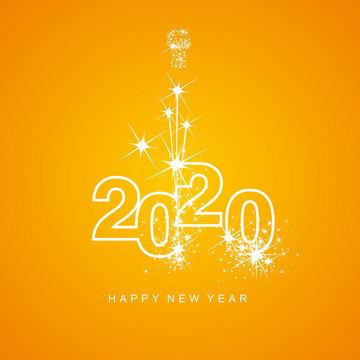 Happy New Year 2020 firework white line design numbers orange yellow background