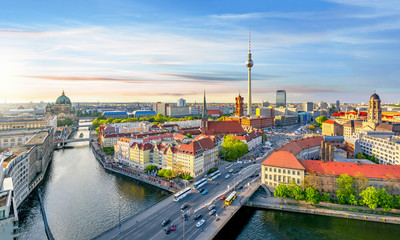 Aluminium Prints Berlin Berlin cityscape with Berlin cathedral and Television tower, Germany
