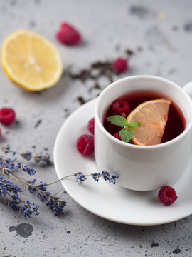 Red berry tea tea collection with raspberries, lemon, lavender.