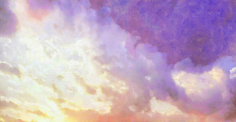 Beatiful Sky with Clouds Expressive Painting Aesthetic