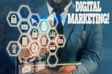 Writing note showing Digital Marketing. Business concept for market products or services using technologies on Internet Picture photo network scheme with modern smart device