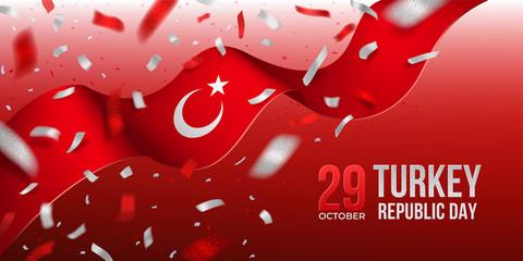 Turkey Republic Day banner with confetti