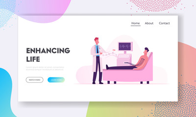 Patient Visiting Cardiology Clinic for Medical Heart Check Up Website Landing Page. Doctor Examining Man Making Electrocardiogram in Cardio Center Web Page Banner. Cartoon Flat Vector Illustration
